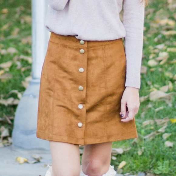 GAP Dresses & Skirts - Suede Button Mini Skirt